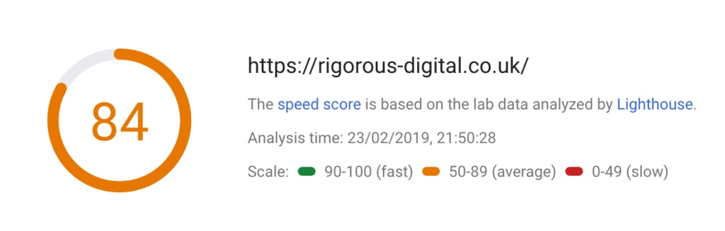 A screenshot of the Google pagespeed result for this website