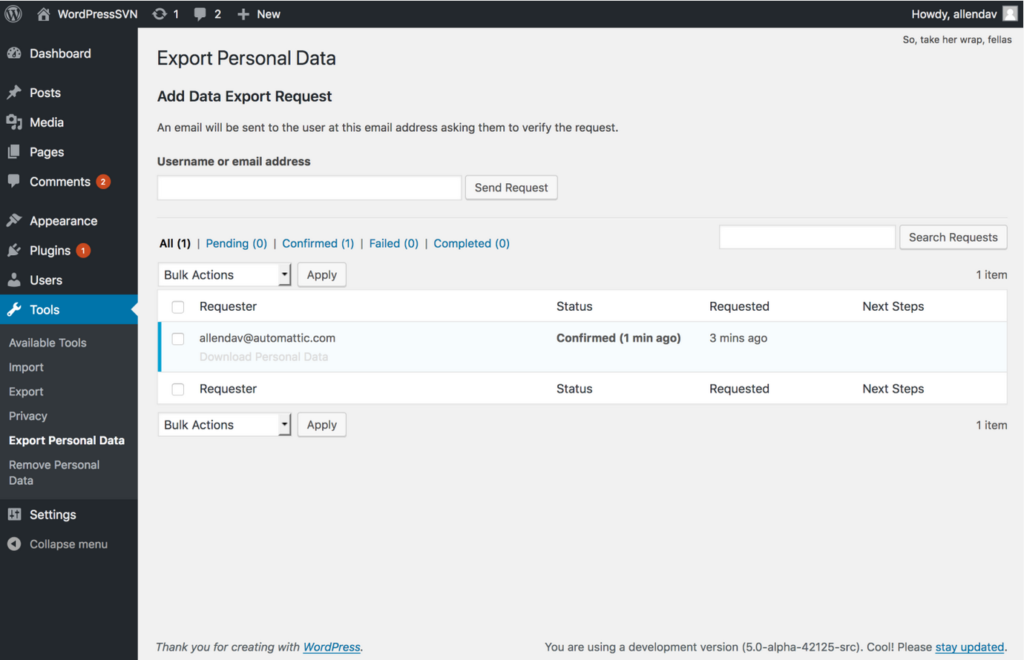 A screenshot of the The Export Personal Data screen of WordPress